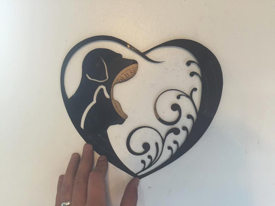 dog and cat heart Laser Cut Vinyl Record artist representation
