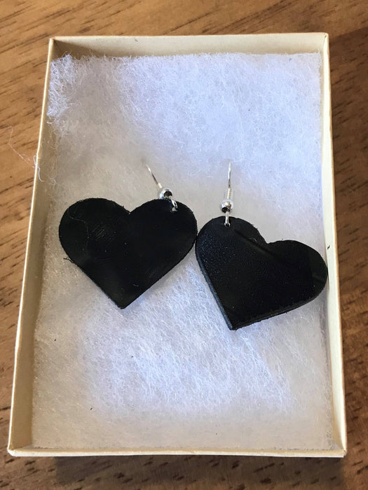 Heart earings made from recycled vinyl records