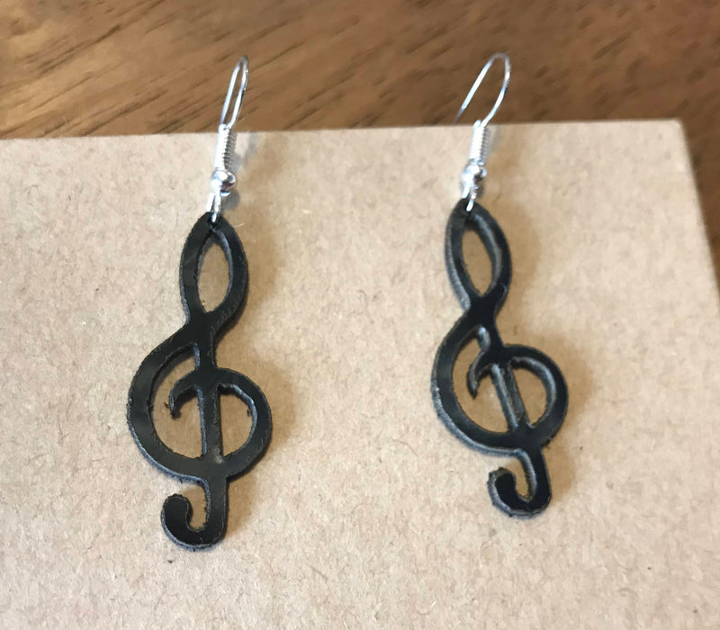 treble clef note earings made from recycled vinyl records