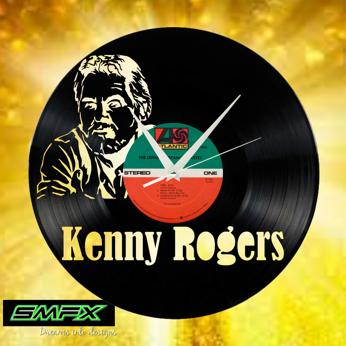 kenny rogers Laser Cut Vinyl Record artist representation or vinyl clock