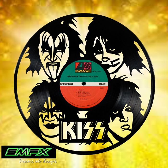 kiss Laser Cut Vinyl Record artist representation or vinyl clock
