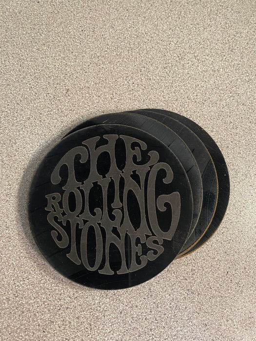 rolling stones Laser Engraved Coaster Set of 4 Cut Vinyl Record artist representation