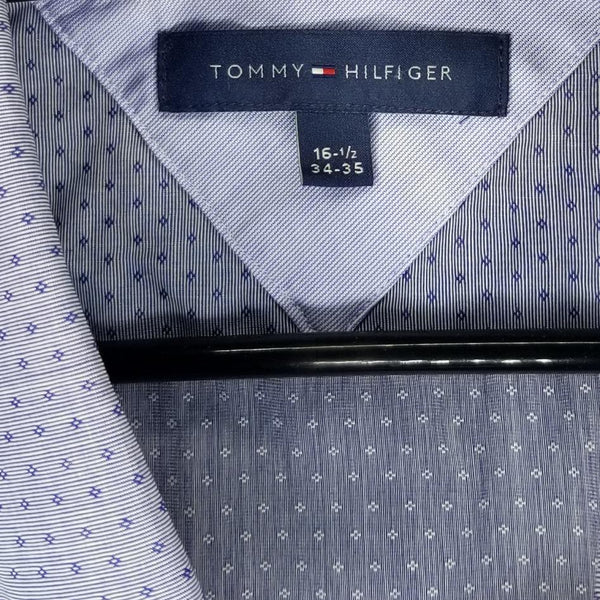 Tommy Hilfiger Men's Blue Diamond Button Down Dress Shirt Size 16 1/2 (34-35)