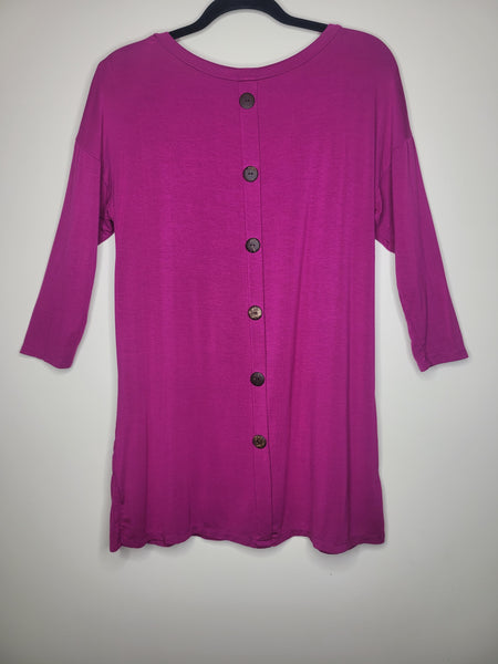 Emerald Purple Tunic 2 Pockets Back Buttons