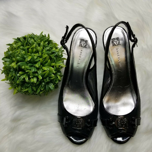 Anne Klein Black with Silver Emblem High Heels Strap Open Toe Size 8M