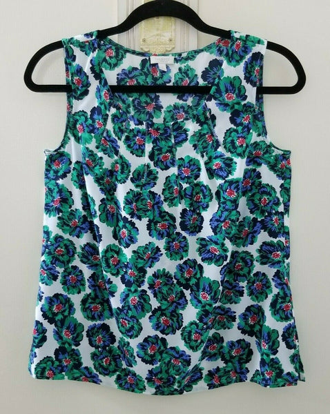 Talbots Petites White with Green, Blue, Red Flowers Sleeveless Blouse Size P