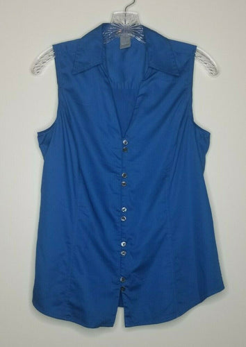Ann Taylor Blue Button Up Sleeveless Collar Blouse Size 8