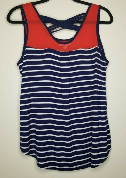 NWT It Girl Blue, Red, White Stripe Buttons Cross Back Size Large