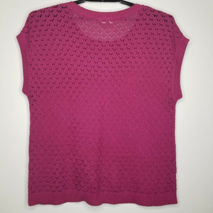 Ann Taylor Loft Burgundy Crochet Sleeveless Blouse Size XL
