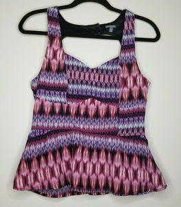 Charlotte Russe Multicolored Peplum Sleeveless Heart Back Size Medium