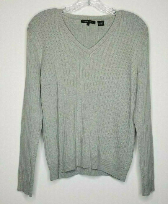Jeanne Pierre Women's Tan V-Neck Ribbed Sweater Size Large