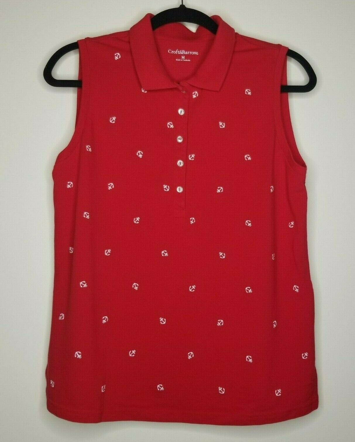 Croft & Barrow Red Anchors Sleeveless Collar Mid Way Button Up Size Med