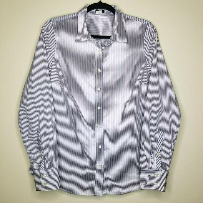J. Crew Women's Purple White Stripe Long Sleeve Button Up Collar Size M