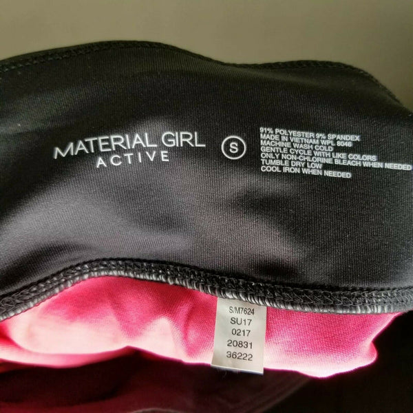 NWT Material Girl Active Black Pink Thigh Cut Out Panels Shorts Size Small