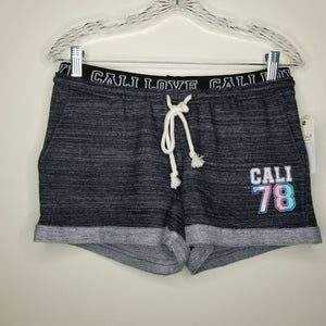 "NWT Ultra Flirt Dark Gray Shorts Drawstring ""Cali Love Cali 78"" Pockets Size XS"
