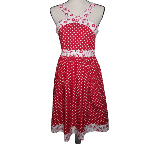 Bonnie Jean Red White Polka Dot Floral Sleeveless Dress Size 18/2