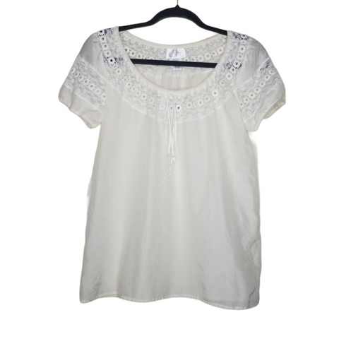 Ann Taylor LOFT Cream Short Sleeve Blouse, Lace and Embroidered Neckline Size 4
