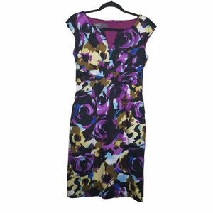 Donna Ricco Multicolored Floral Knee Length Cocktail Dress Zip Up Back Size 8