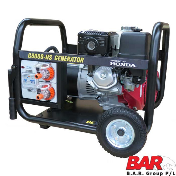 BAR Group 123 G8000-HST Honda Powered Generator Trade spec w/RCD