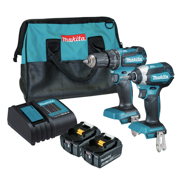 Makita DLX2283SM Brushless Hammer Driver Drill and Impact Driver Set