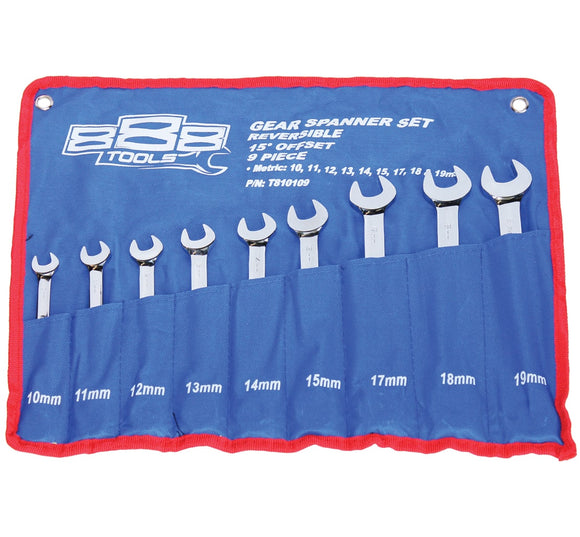 888 Tools GEAR DRIVE ROE SPANNER SET - 15° OFFSET - METRIC - 9PC