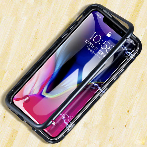 Magnet Absorption Phone Cover Case For iPhone X 8 7 6 6S Plus Cases Metal Frame Magneto Clear Tempered Glass Cover Case