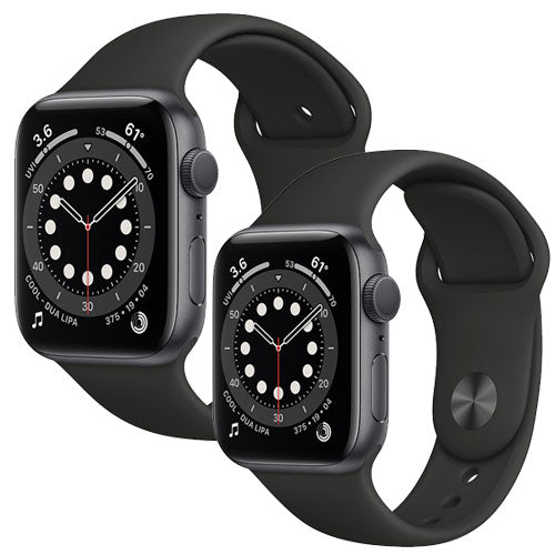 Apple Watch Series 6, Space Gray Aluminium Case with Black Sport Band - Regular - GPS