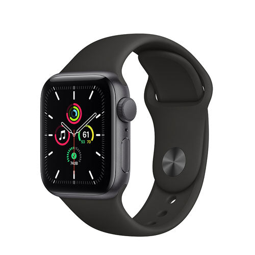 Apple Watch SE, Space Gray Aluminium Case with Black Sport Band - Regular - GPS