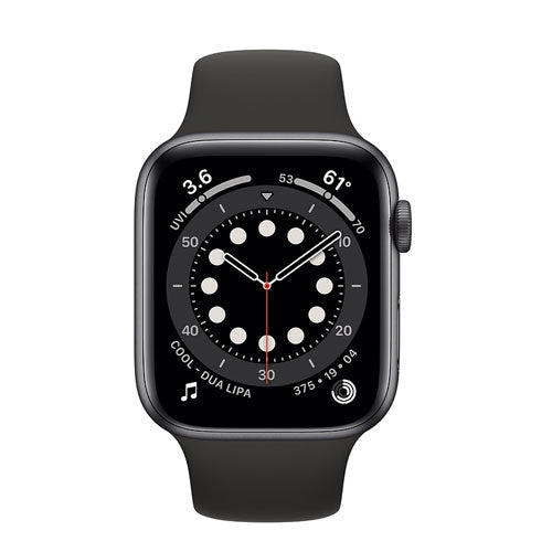 Apple Watch Series 6, Space Gray Aluminium Case with Black Sport Band - Regular - GPS + Cellular