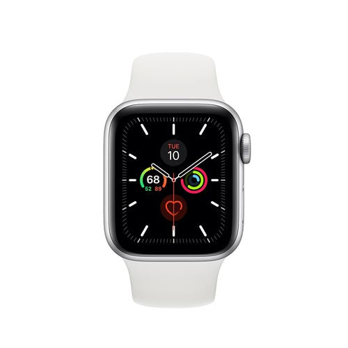 Apple Watch Series 5, Silver Aluminium Case with White Sport Band