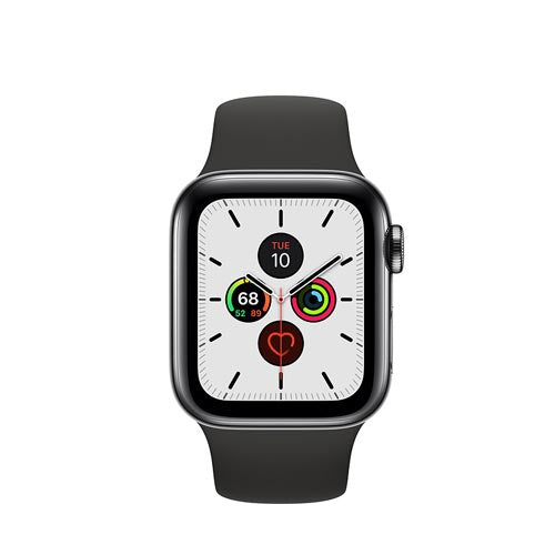 Apple Watch Series 5, Space Black Stainless Steel Case with Black Sport Band