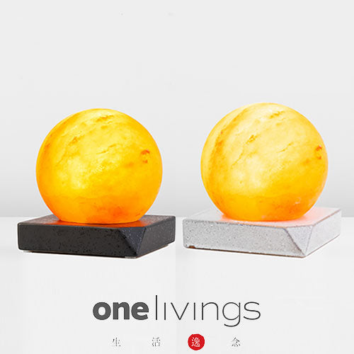 ONELIVINGS SPHERE Himalayan Salt Lamp with Ceramic Base (15cm)