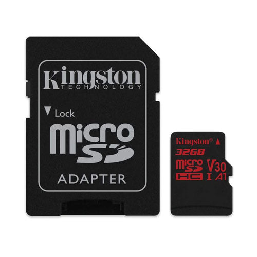Kingston Canvas React microSD UHS-1 U3 Class 10 Memory Card with SD Adapter - 32GB