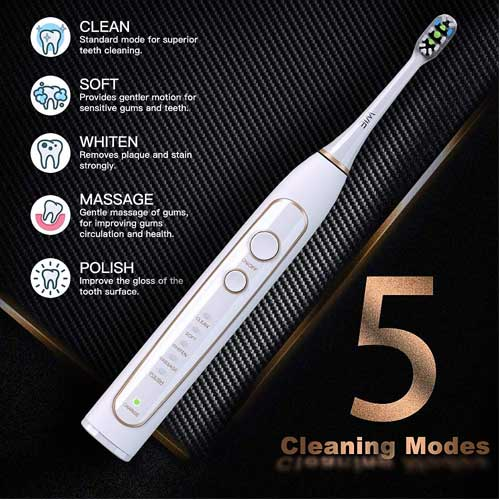 WIE Super Nova Sonic Power Rechargeable Toothbrush with UV Sanitizing Charging Case