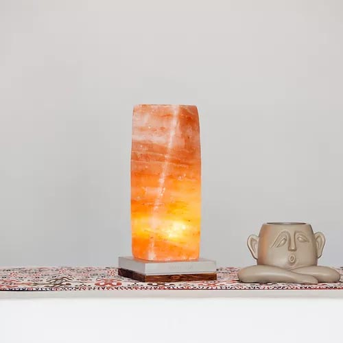 "ONELIVINGS ""TAU"" Loft Edition Himalayan Salt Lamp with Concrete Base with Zebra Wood"