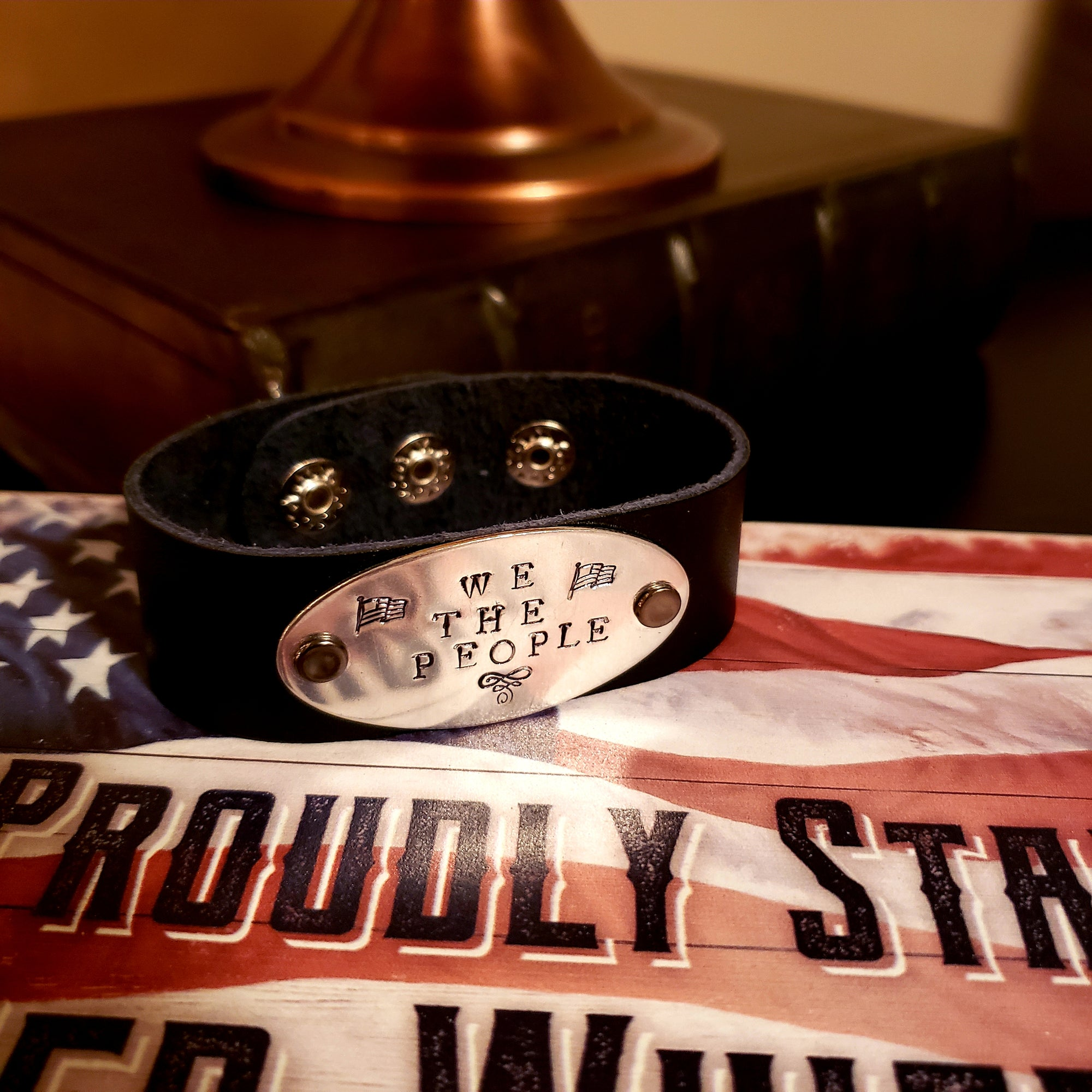 We The People Leather Stamped Bracelet | Grit Style Gear