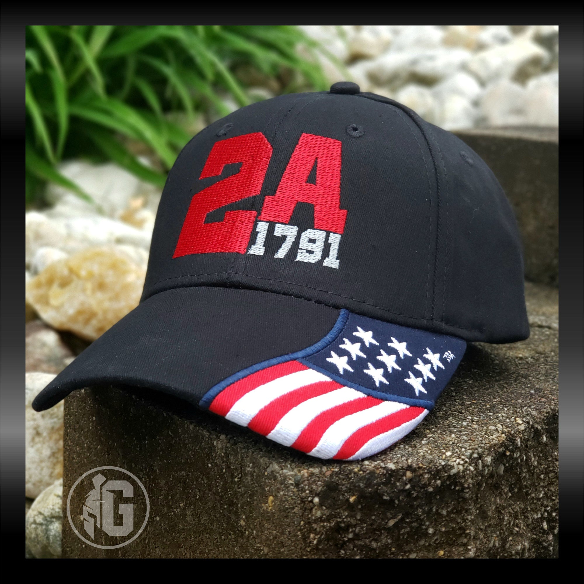 2A 1791 W/ American Flag on Bill Embroidered Hat