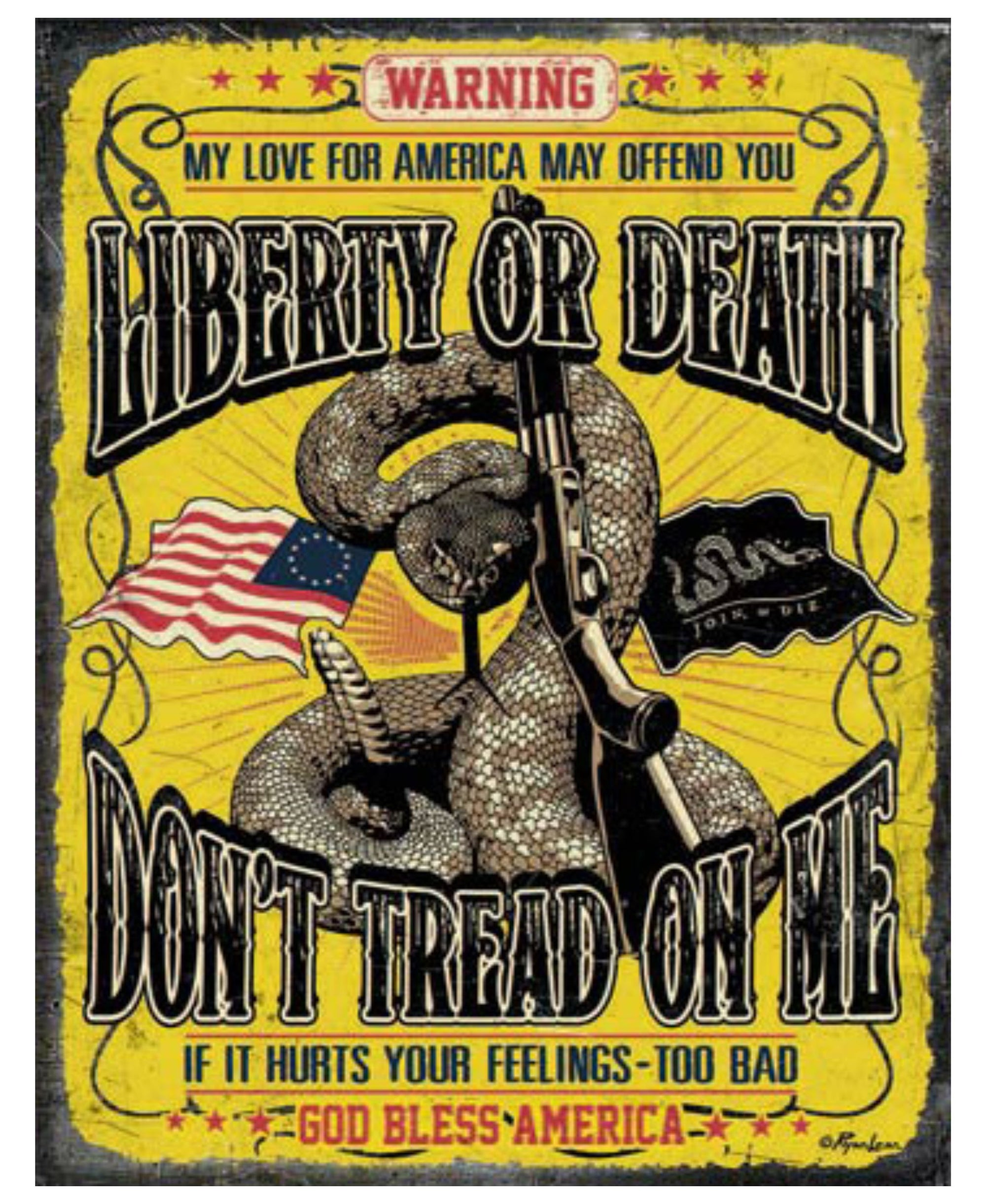 Don't Tread on Me - Liberty or Death Tin Sign