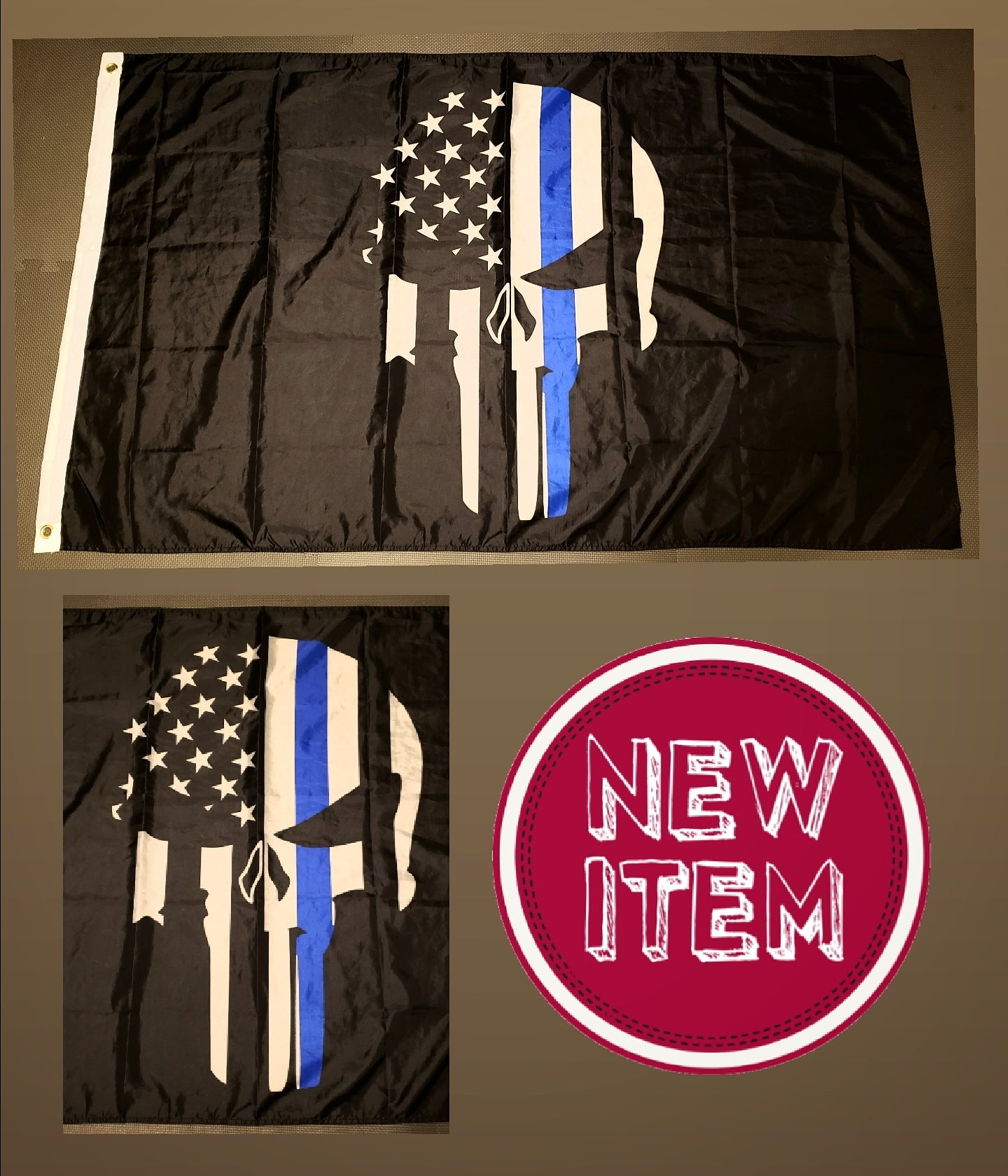 Punisher Thin Blue Line Flag