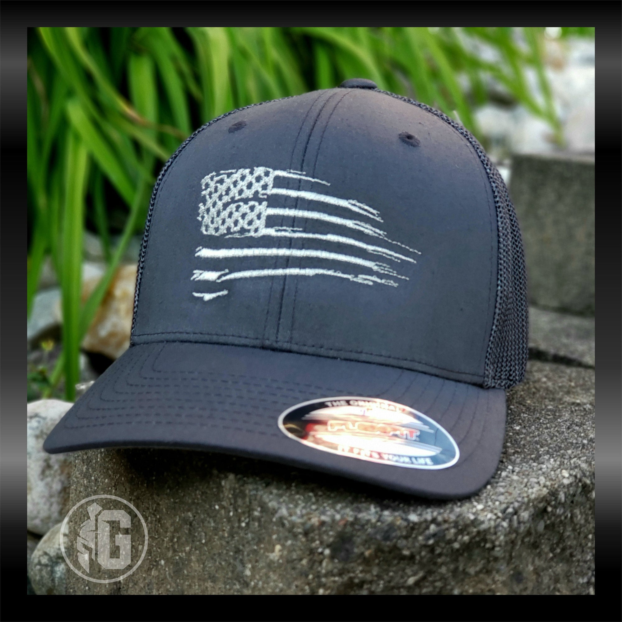 Distressed American Flag Embroidered Hat | Grit Gear Apparel ®