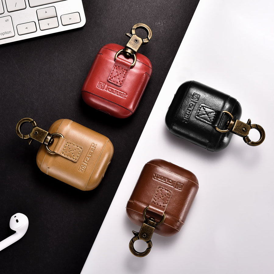 Vintage Leather Airpods Case with Metal Hook