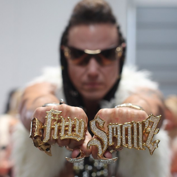 fitty smallz with custom bling bling 2 finger ring by hiphopbling