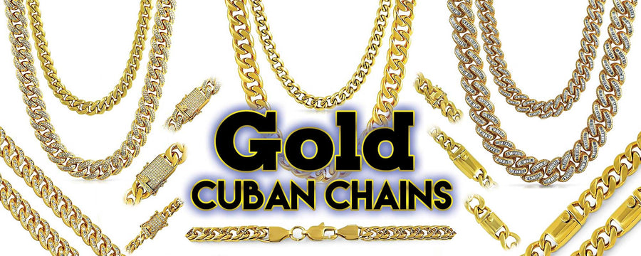 gold cuban chains, hip hop necklaces