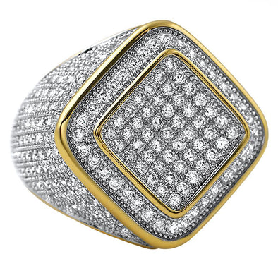 Deep Ice Gold CZ Micro Pave Bling Ring