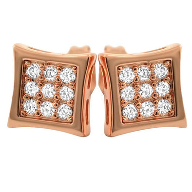 Kite Small Rose Gold CZ Micro Pave Earrings