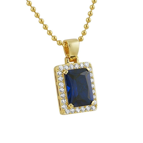 Lab Sapphire Block Gold Iced Out Pendant