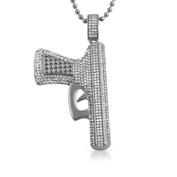CZ Handgun Hip Hop Jewelry Pendant Rhodium