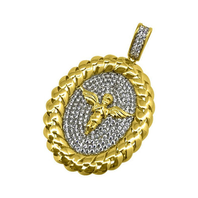 .925 Silver Cherub Angel Gold Cuban Oval CZ Pendant