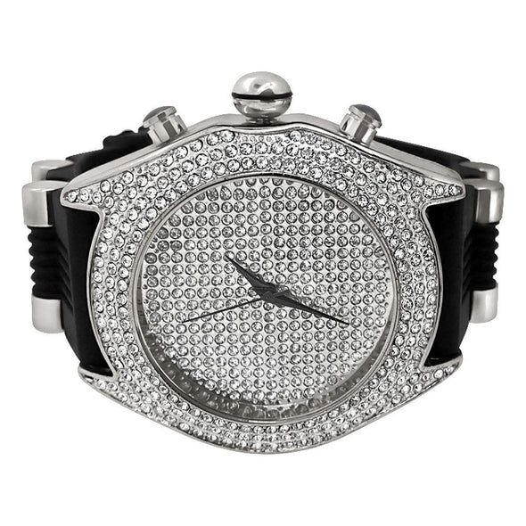 Full Bling Dial and Triple Bezel Icey Watch Silver