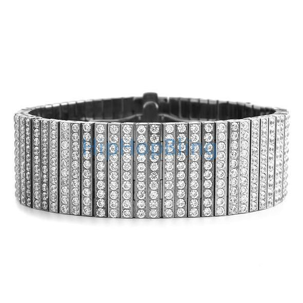 Custom 10 Row 316L Stainless Steel Bling Bling Bracelet